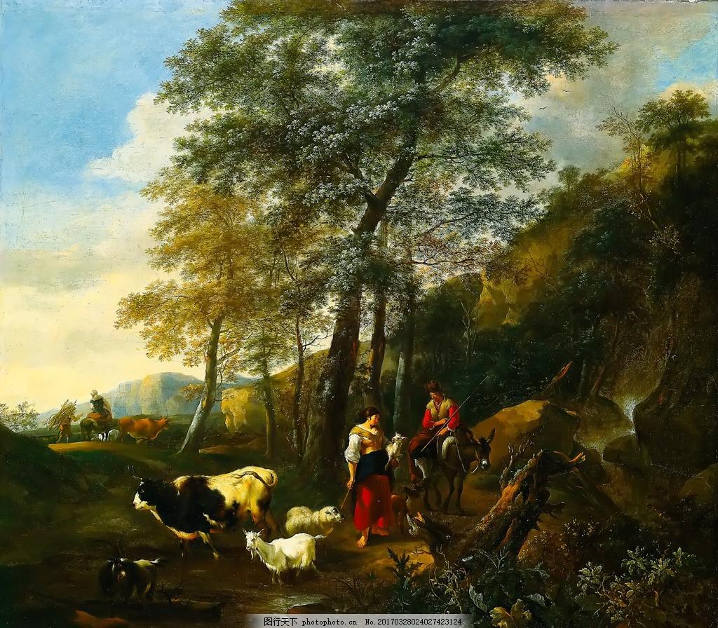 怀旧经典油画 会所装饰画 娱乐场所 高清油画 风景油画 抽象油画