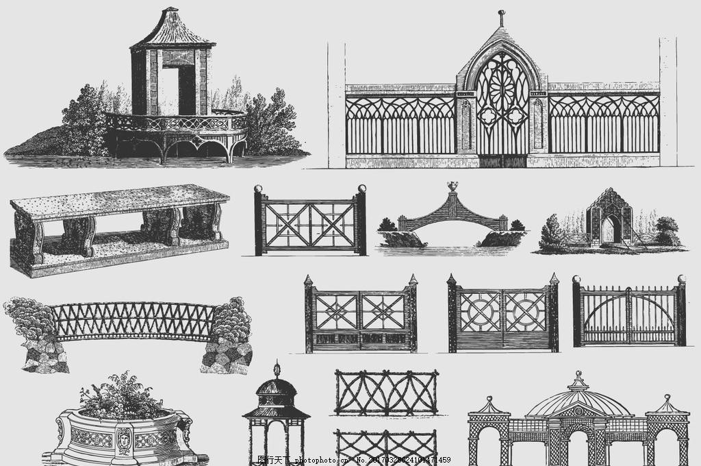 欧式复古花园大门线描元素