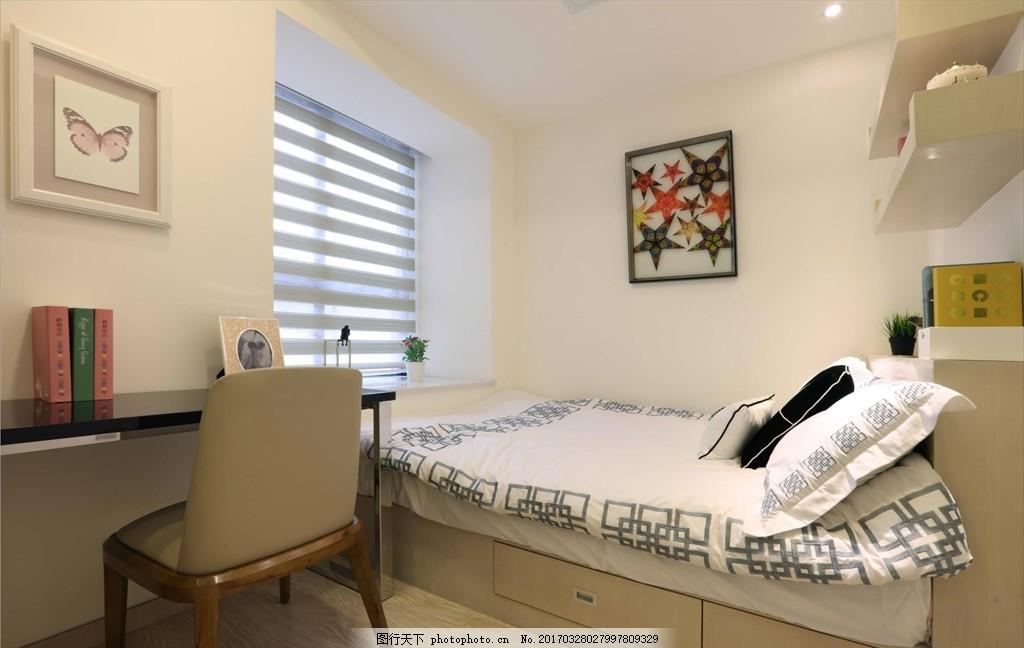 室內空間 床 板凳 榻榻米 裝修 居家 房間 溫馨 攝影 建筑園林