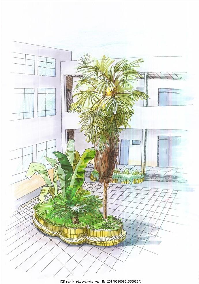 风景手绘 马克笔手绘 钢笔色彩 马克笔速写 植物速写