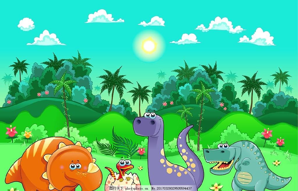 矢量卡通动物风景 卡通动物 风景插画 可爱动物 儿童 背景 梦幻 矢量