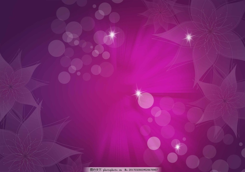 紫色背景 水彩紫色花朵 动感花朵 水彩鲜花 水彩素材 花朵海报