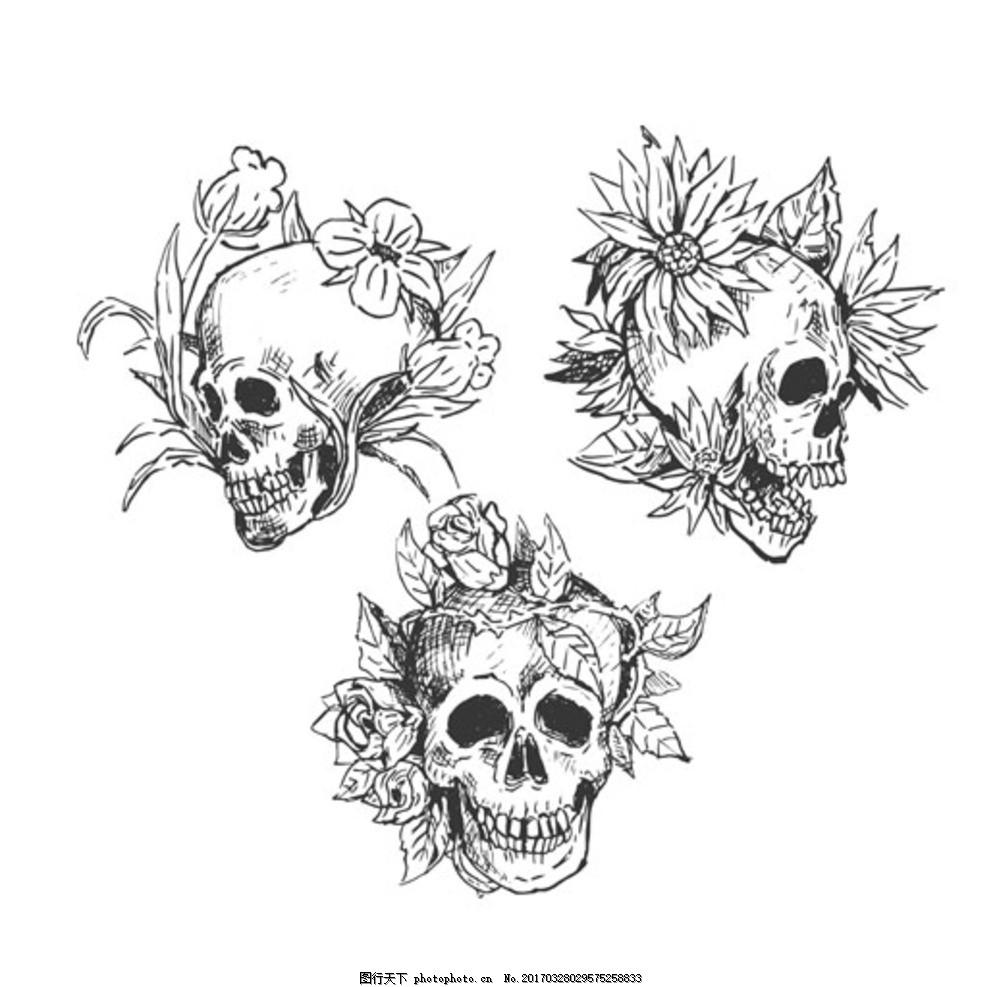 手绘黑白骷髅与鲜花