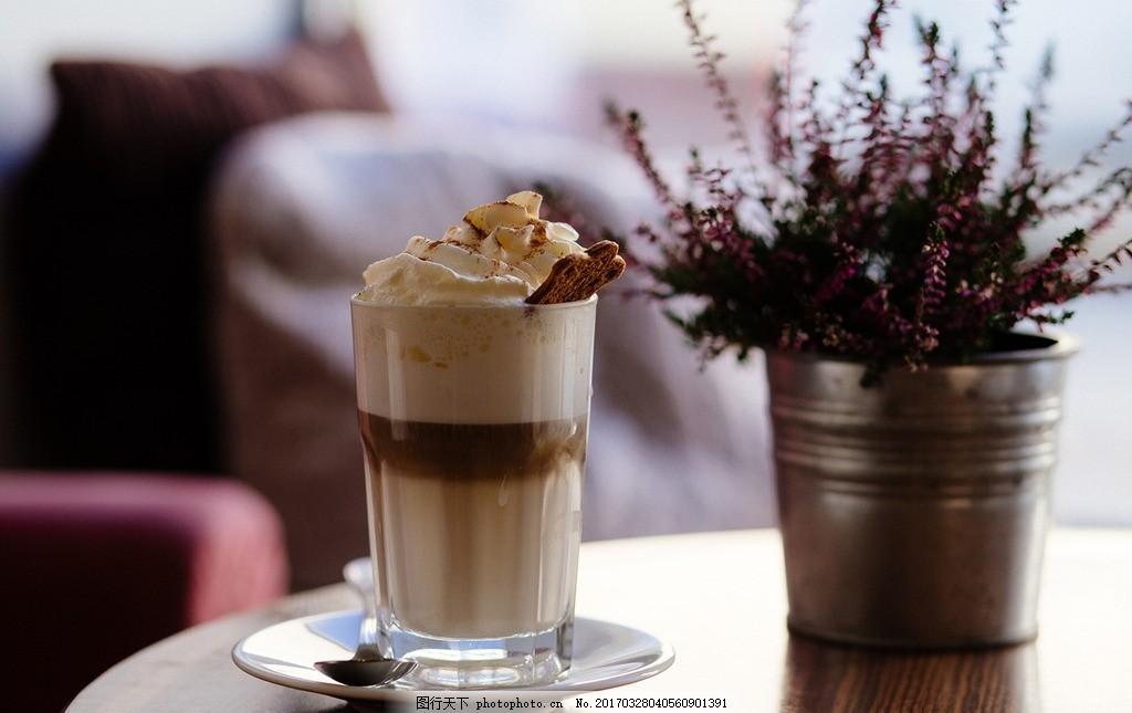 冰淇淋高清唯美 奶茶 甜品 桌子摆拍 拍摄 下午茶 摄影图片