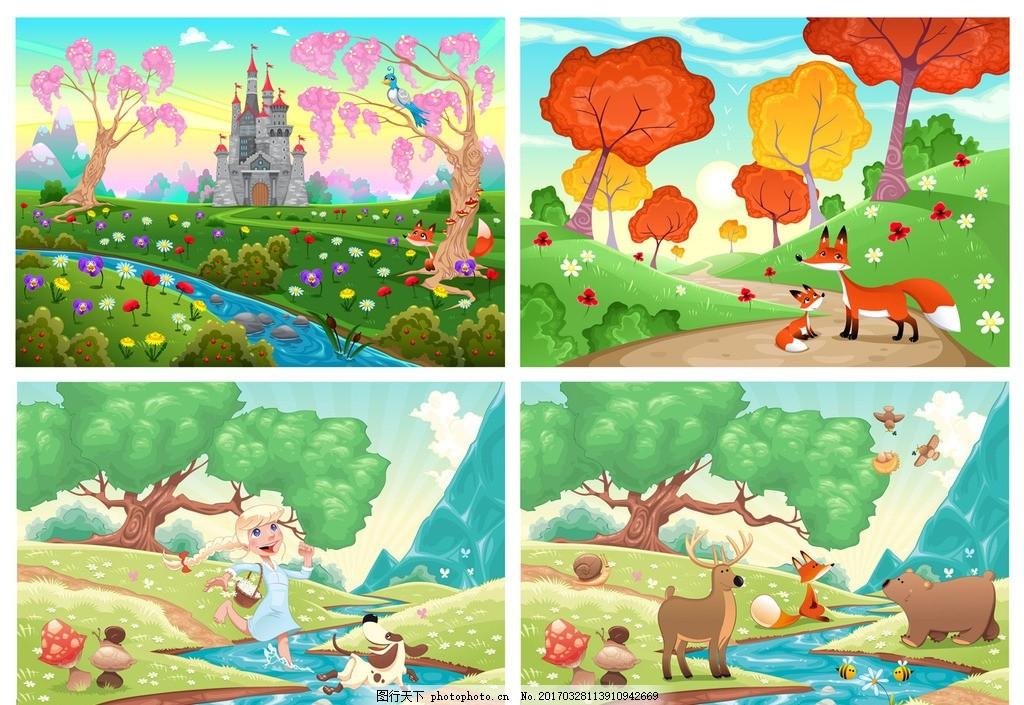 卡通画 卡通动物 可爱动物 q版动物 手绘插画 城堡 树木 花草 河流