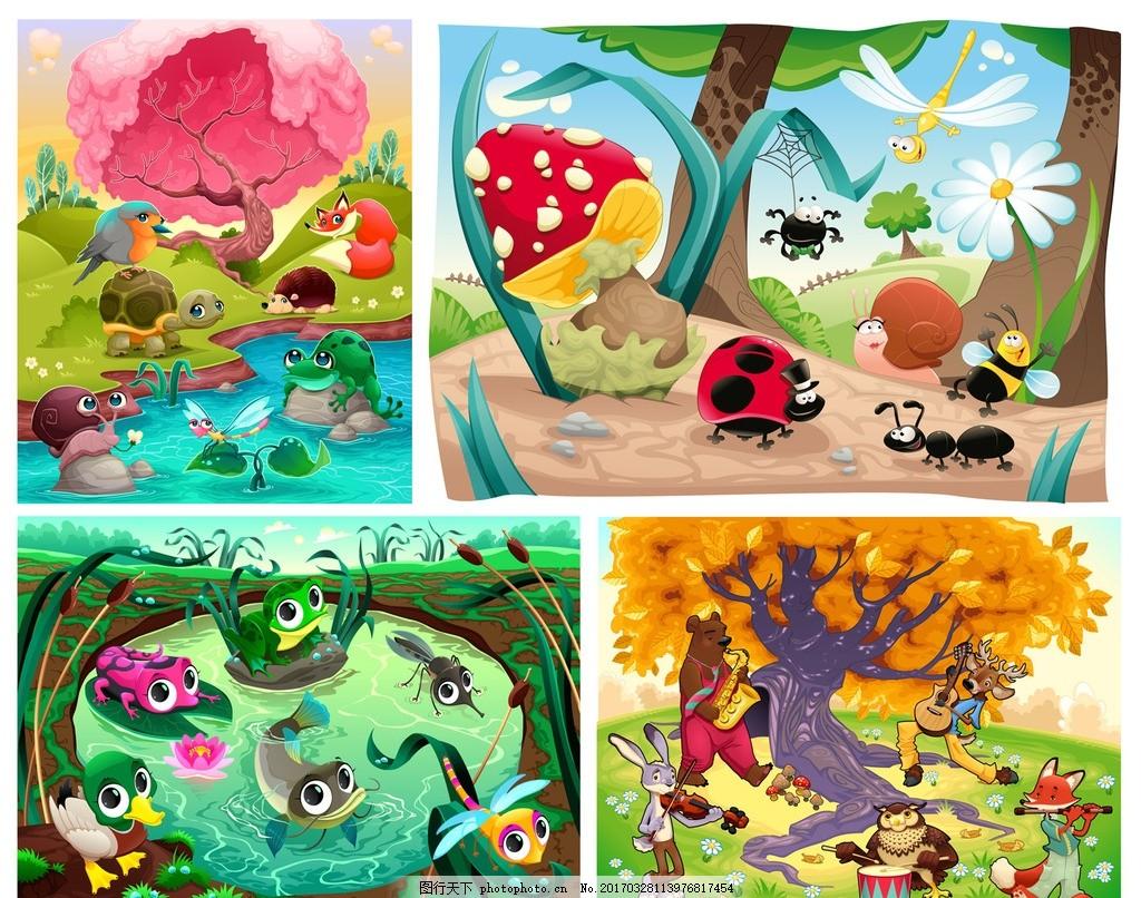 卡通动物风景插画 卡通画 卡通动物 可爱动物 q版动物 手绘插画 树木