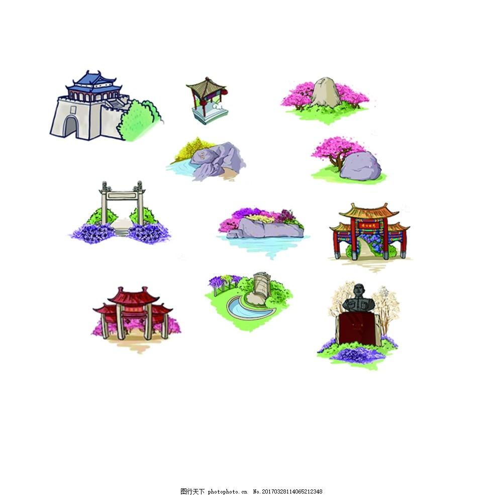 手绘地图景点山建筑 元素 山水 草树 石头 古亭牌坊 标志图标