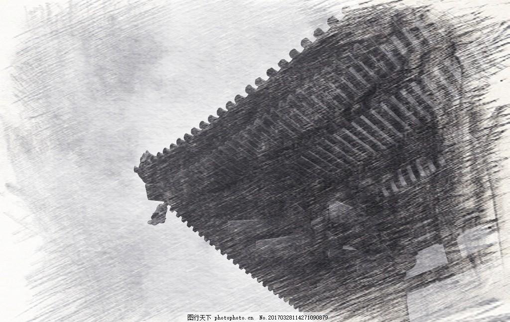 古建筑素描 素描 写生 艺术 速写 老照片 老房子 古建筑 寺庙 黑白