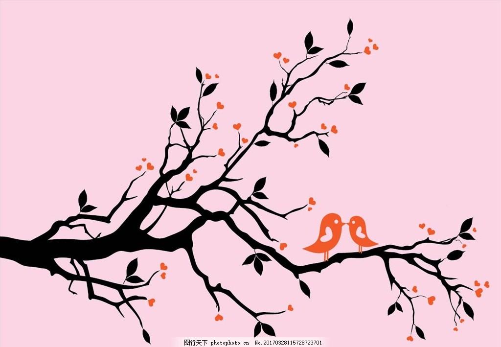 小鸟 树枝 梅花 可爱小鸟 卡通梅花 卡通小鸟 树子 卡通树 底纹边框