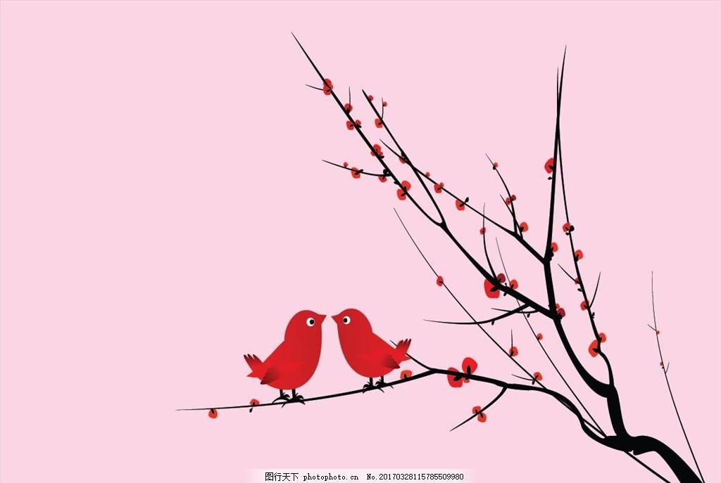 小鸟 树枝 梅花 可爱小鸟 卡通梅花 卡通小鸟 底纹边框 背景底纹