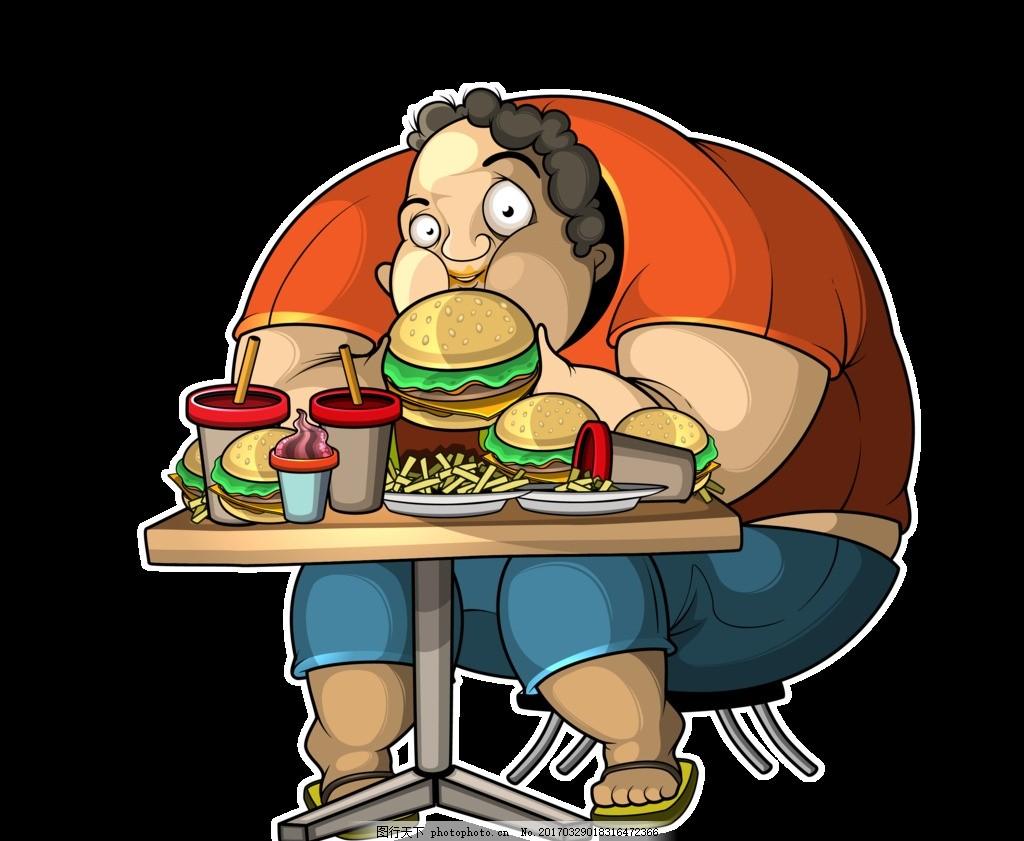 胖子 汉堡 可乐 零食 坐着 卷发 薯条 桌子 吃 橘色 蓝色