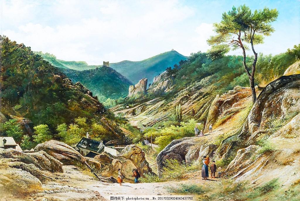 怀旧经典油画 油画风景 油画山水 风景油画 山水风景油画 田园油画