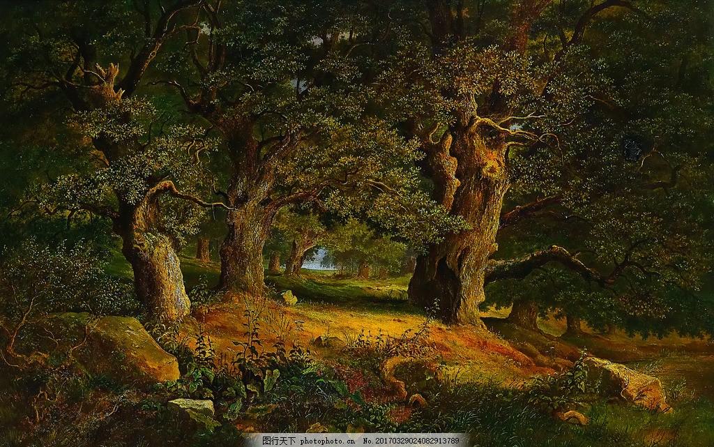 森林油画 油画 油画风景 油画山水 风景油画 山水风景油画 田园油画
