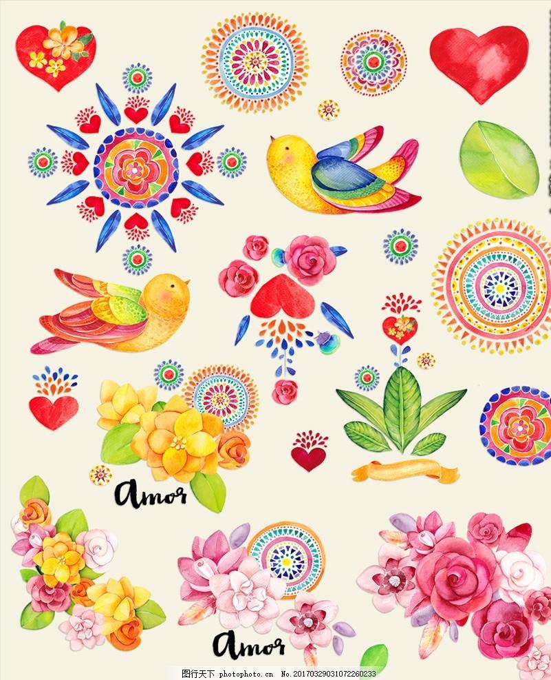 精美水彩花卉鸟类图案 水粉 手绘 绘画 绘图 插画 插图 小鸟