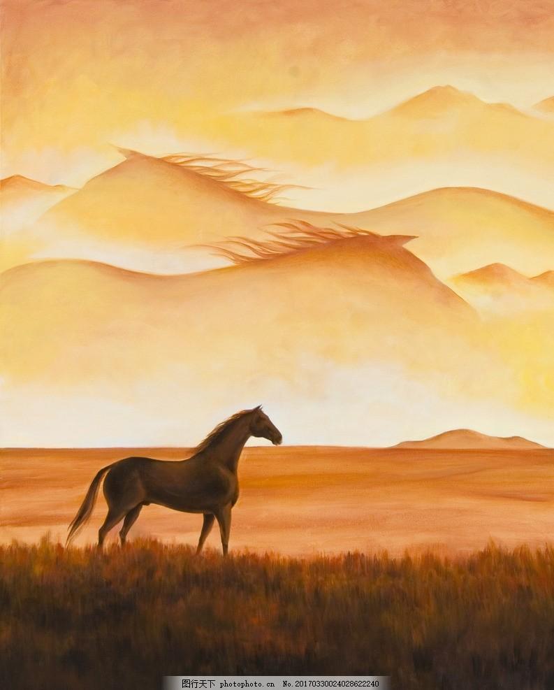 夕阳下的马 草原 手绘 背景