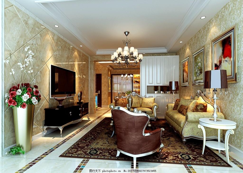欧式客厅 现代简约 客厅吊顶 餐厅吊顶 客餐厅 鞋柜 装饰柜 酒柜