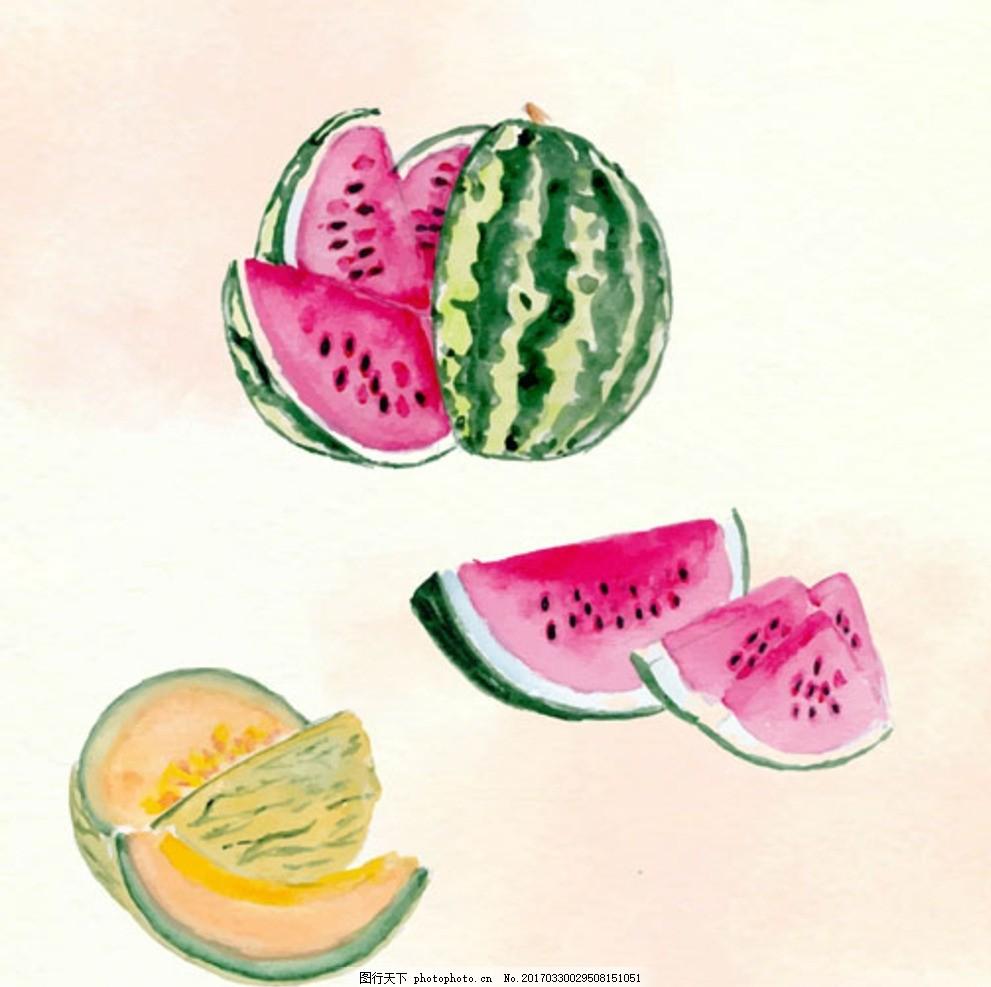 手绘水彩西瓜甜瓜插图
