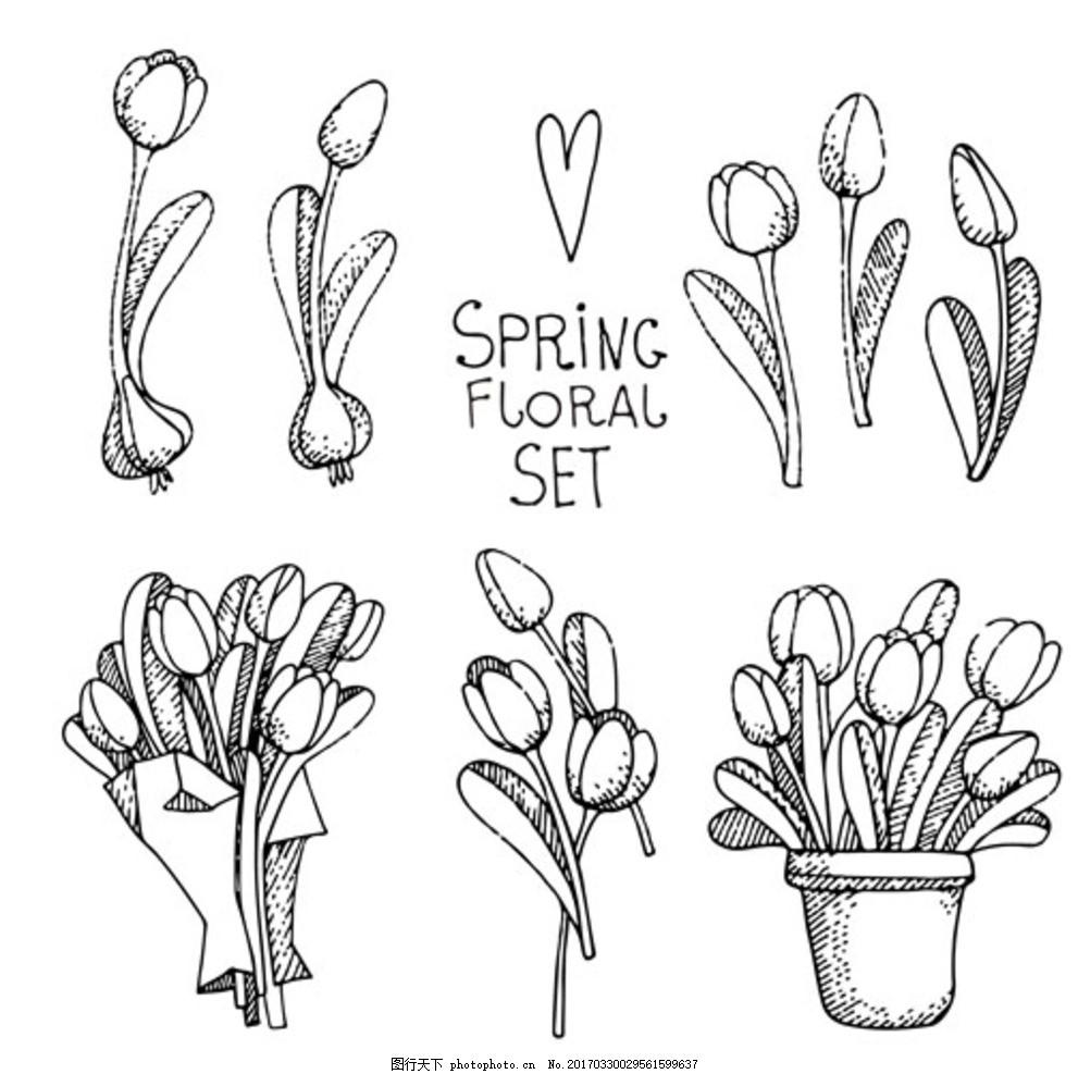 手绘线稿春季花卉集