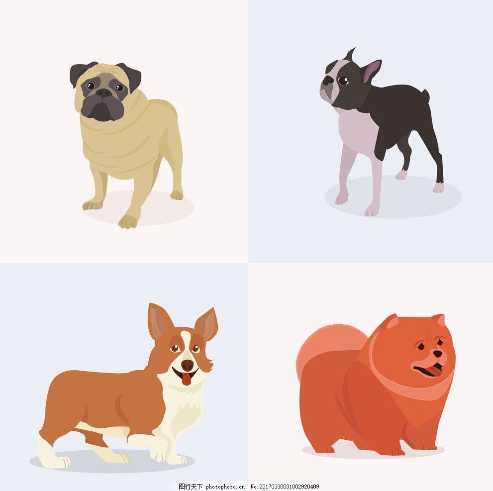 手绘狗狗图像 动物 搞笑 宠物 吉祥物 不同的是 现实 品种