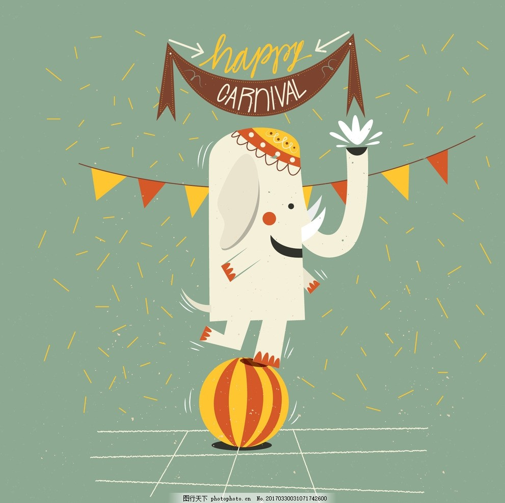 画报大象狂欢 派对 动物 绘制 嘉年华 大象 庆典 狂欢节 事件 假日