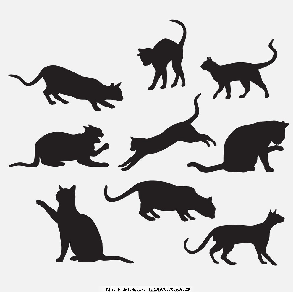 手绘猫剪影