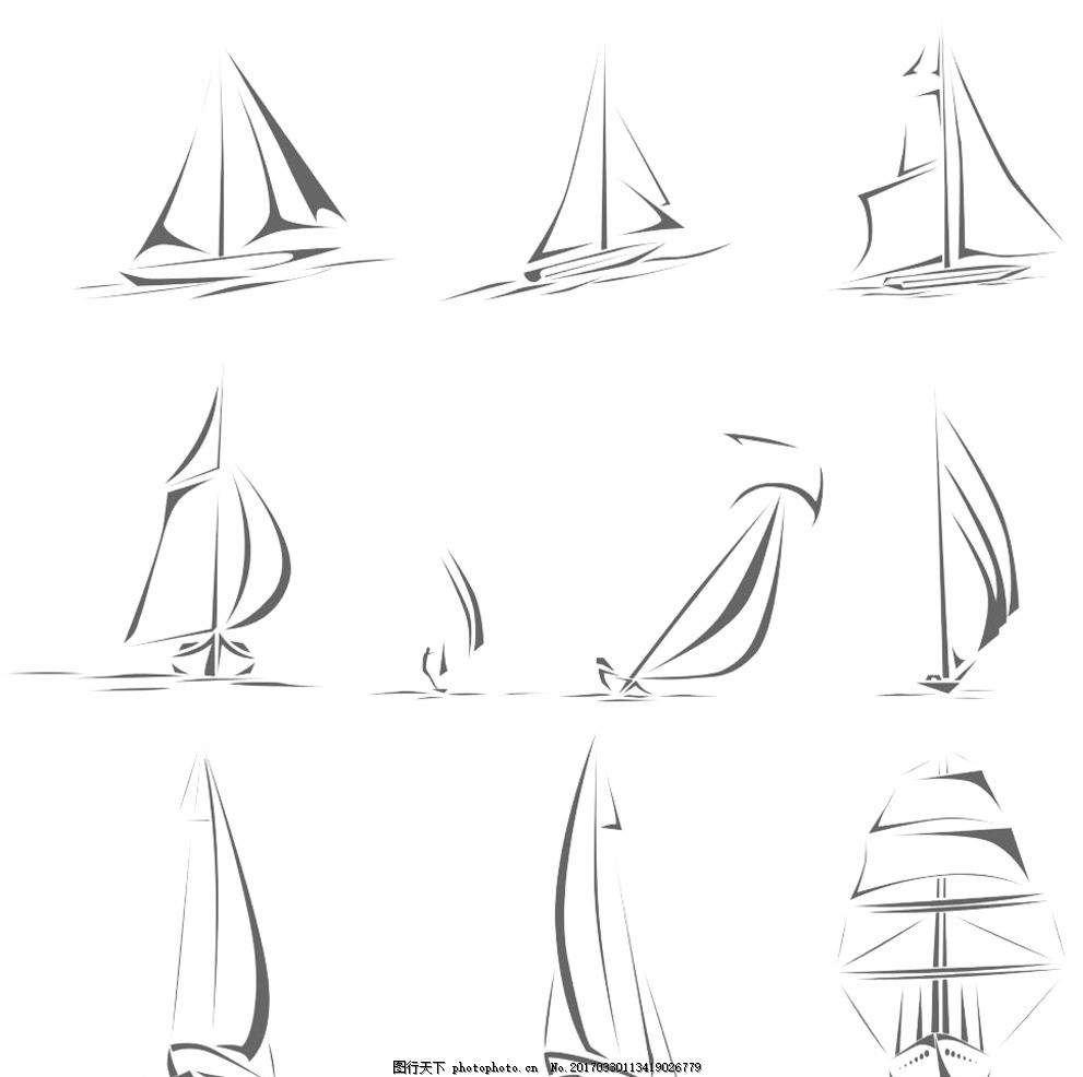 帆船简笔画大全
