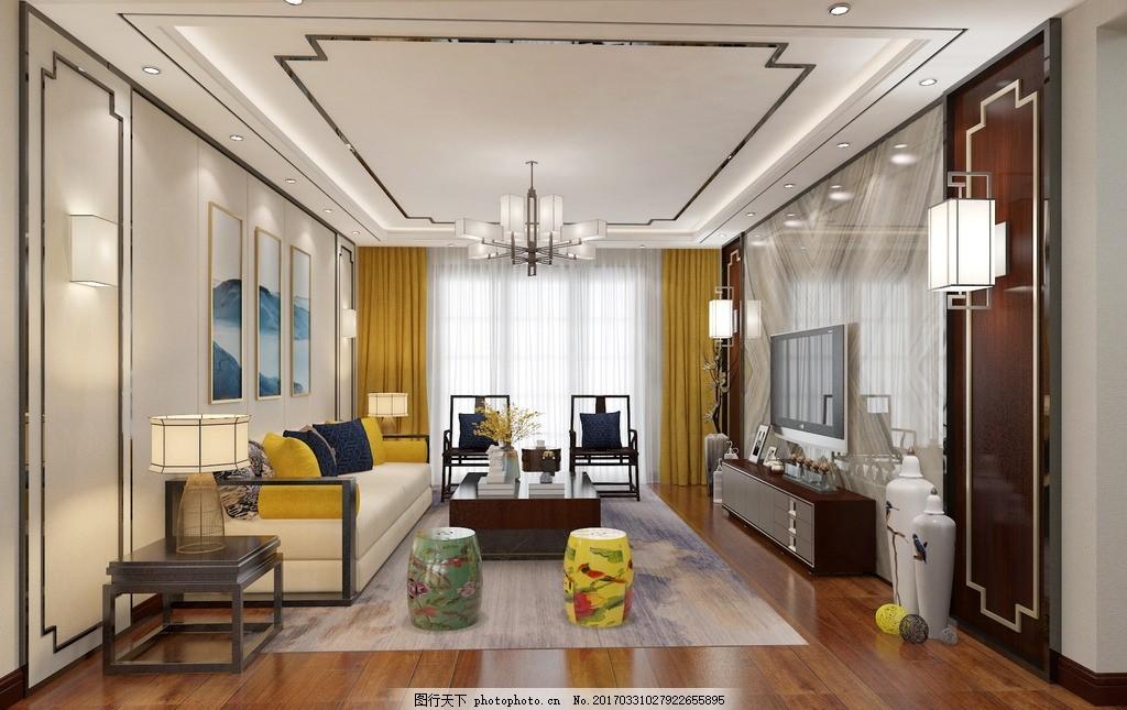新中式 大理石电视墙 室内效果图 黄色窗帘 木地板 设计 环境设计