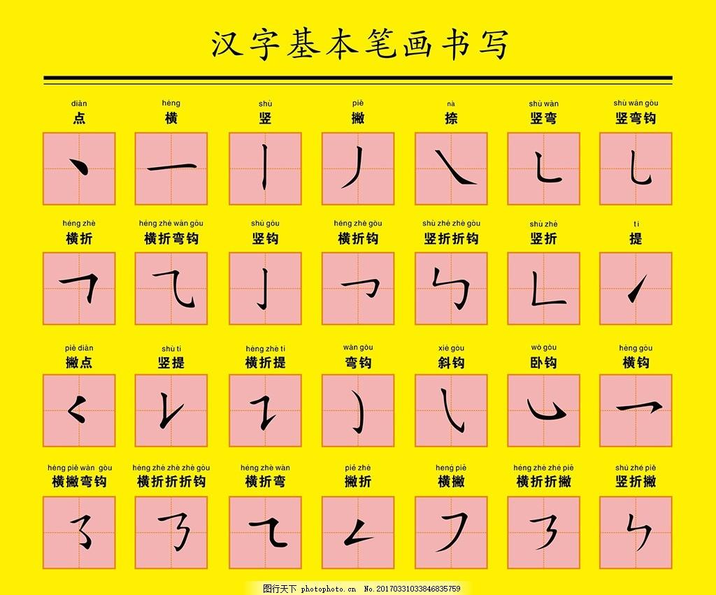 汉字基本笔画书写 汉字 笔画 书写 小学生 笔顺 学写字 写字 设计